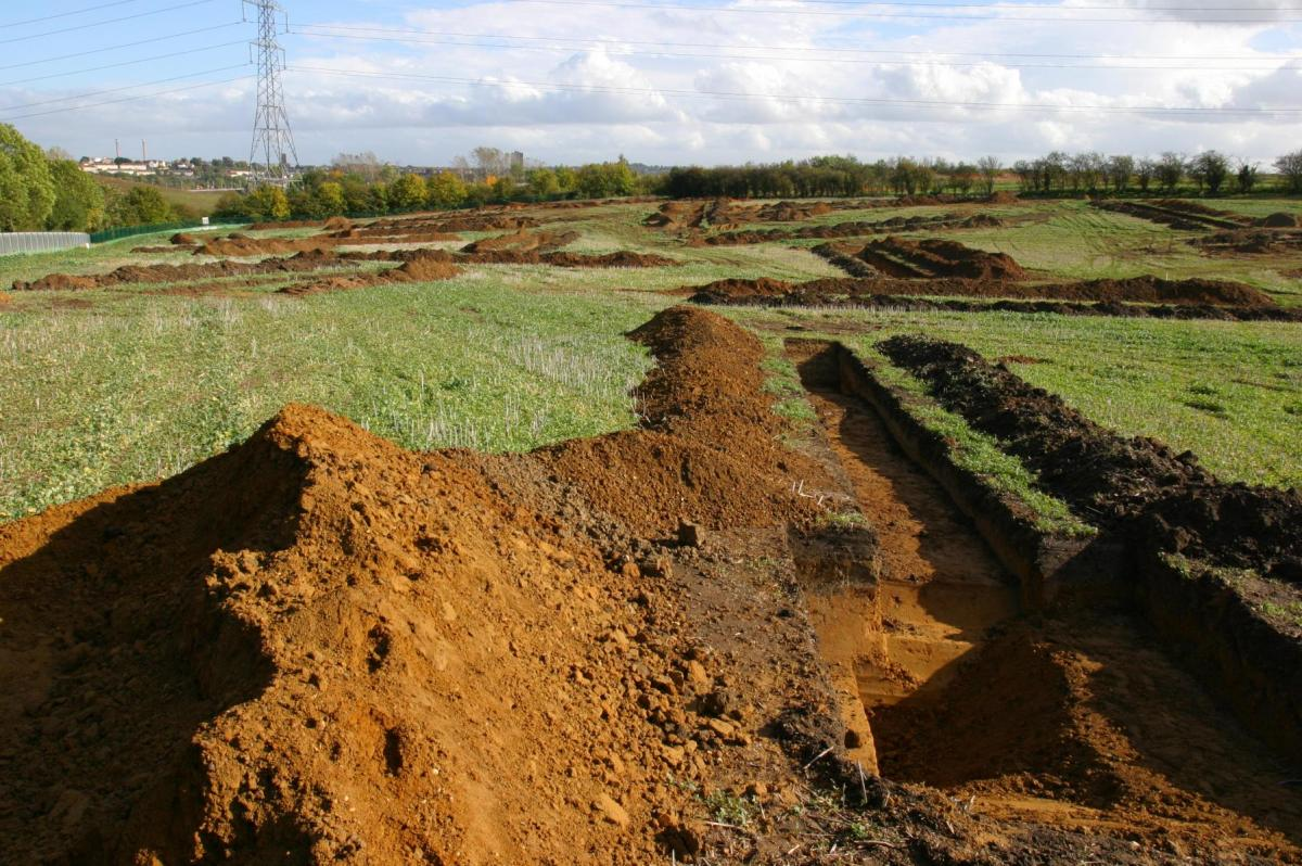 Array of trial trenches open across the landscape