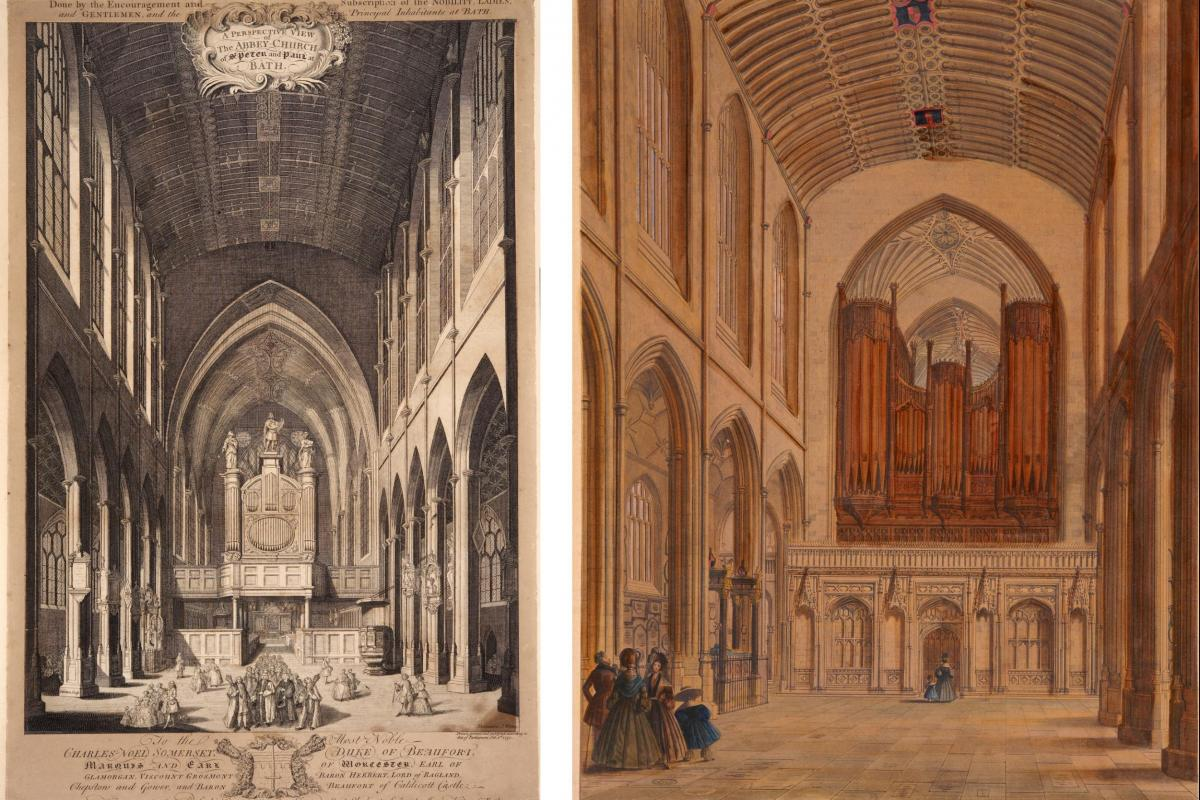 Historic images of Bath Abbey ceiling