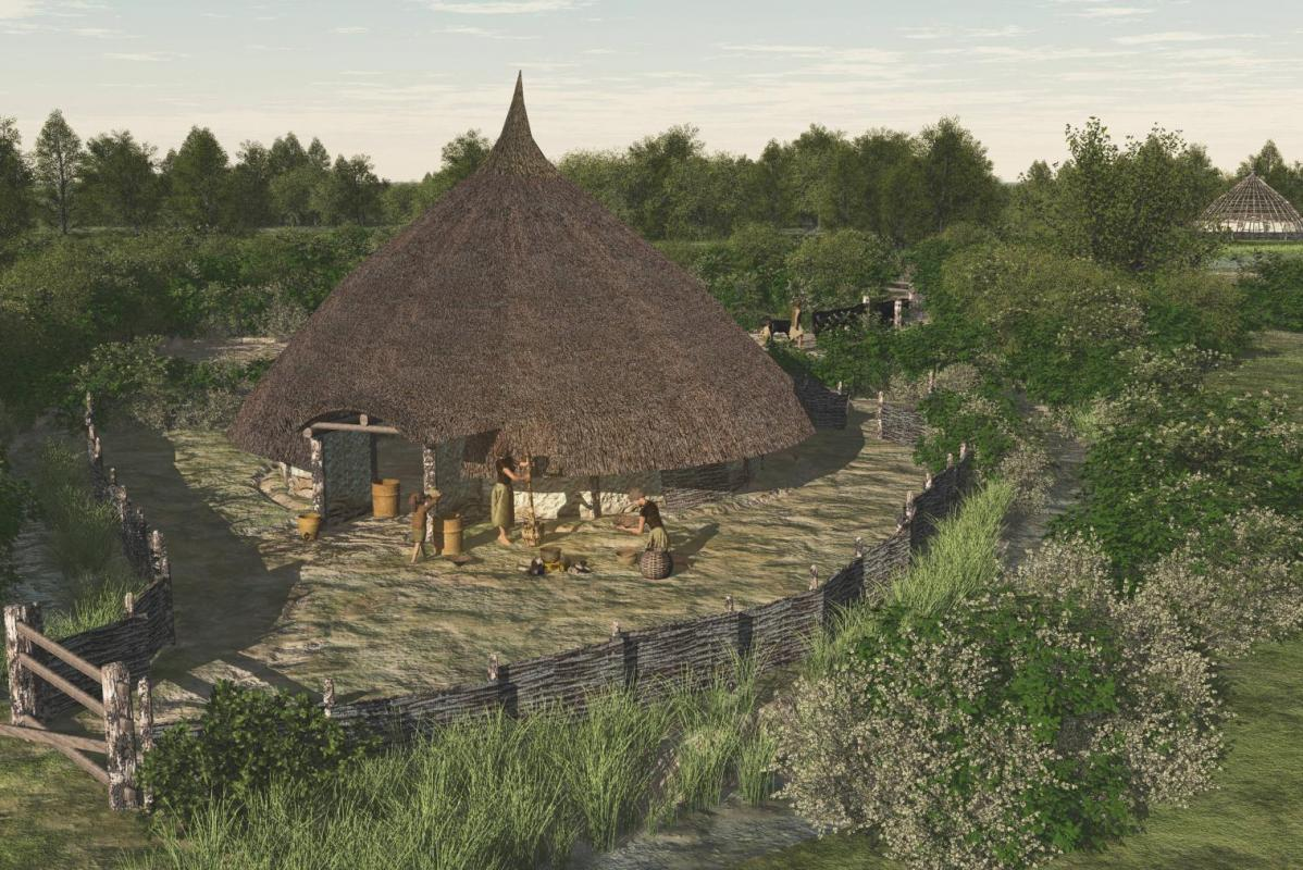 Reconstruction of a Bronze Age enclosure with house