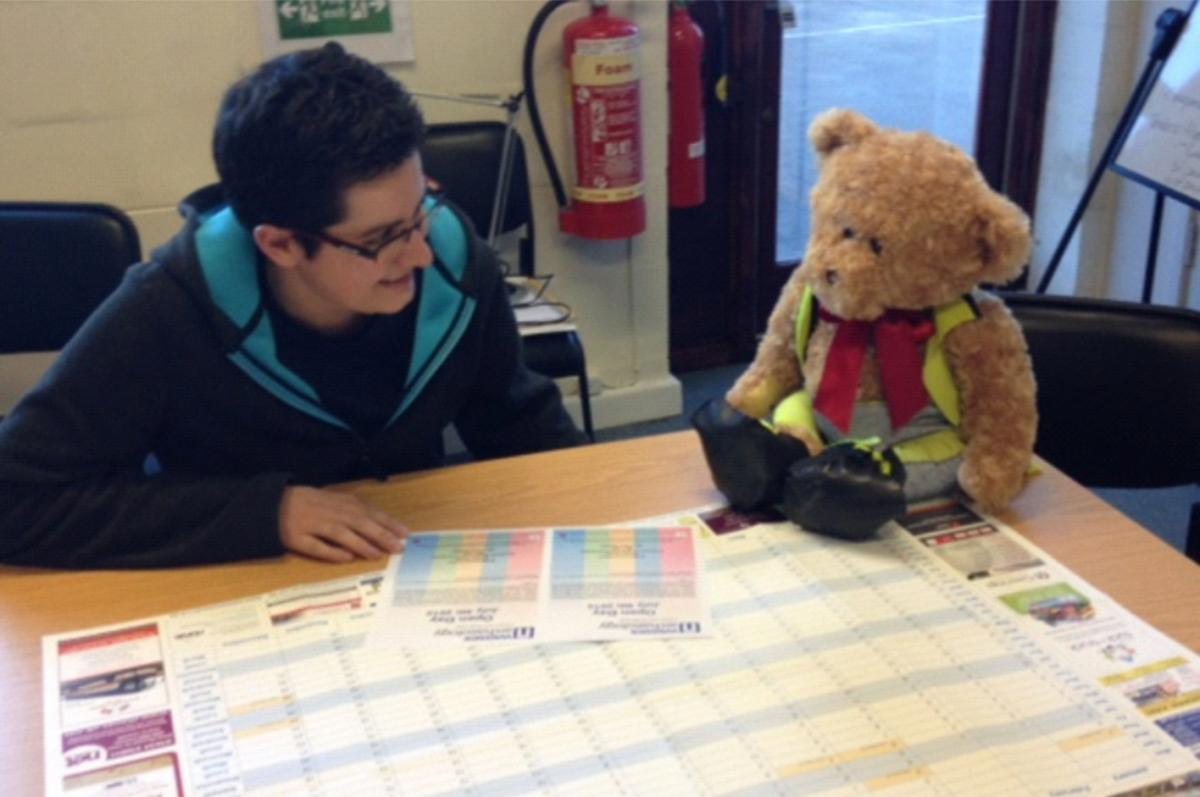 Kent Jones bear archaeologist planning an open day event in our Maidstone office