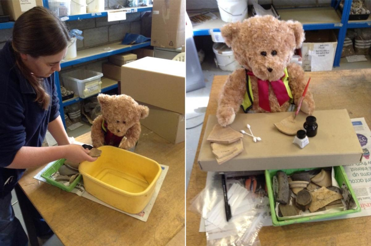 Kent Jones the bear archaeologist washing and marking finds