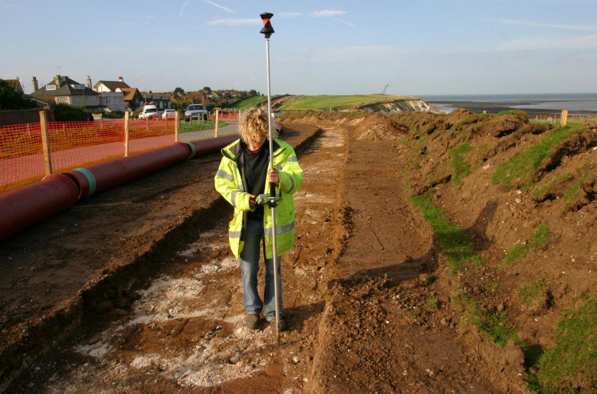 Surveying in archaeological features on the Margate pipeline