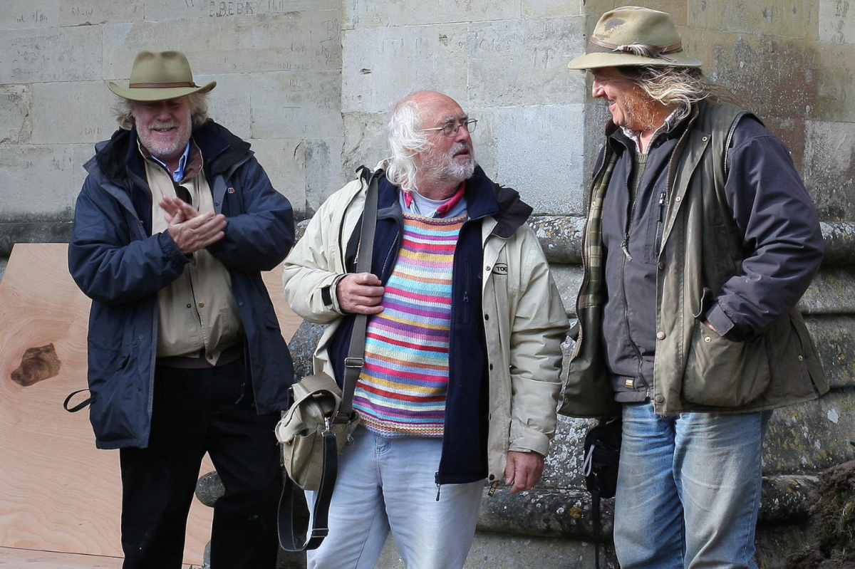 Filming for Time Team with Mick Aston