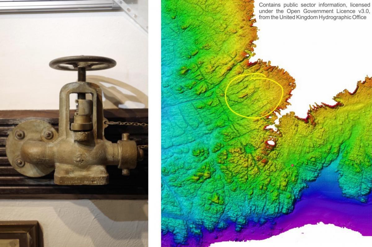 A find from the Montague and bathymetry of the seabed
