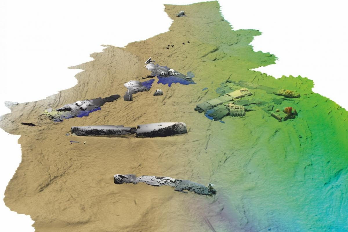Marine Geophysics multibeam data showing wreck site at Scapa Flow