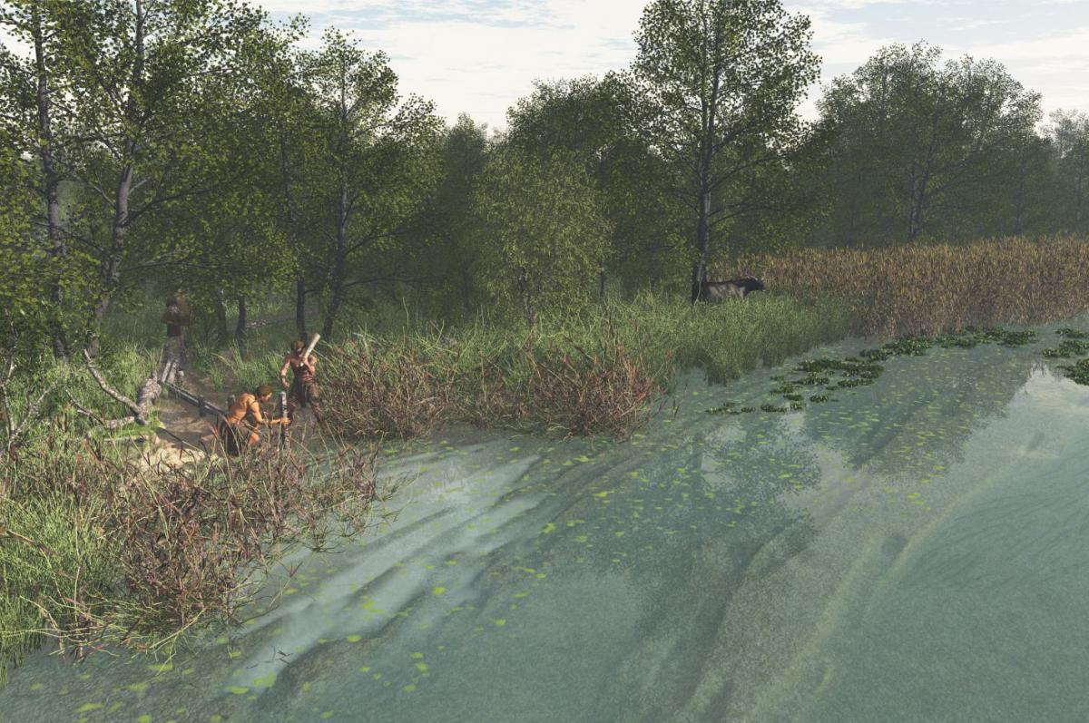 Reconstruction of the Neolithic riverside beneath the Olympics Park site
