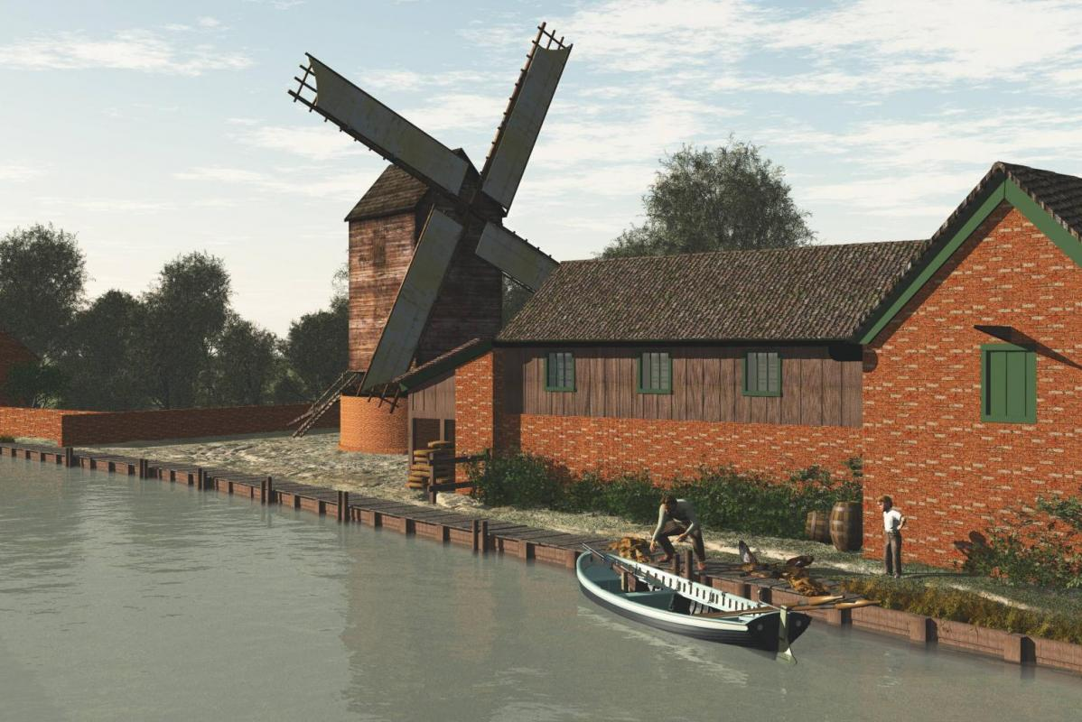 Reconstruction of 19th century mill complex with boat and windmill