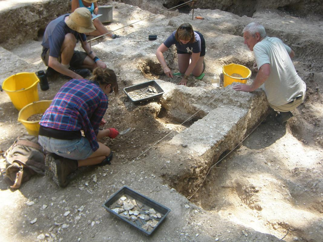Volunteers excavating features as part of the Operation Nightingale project