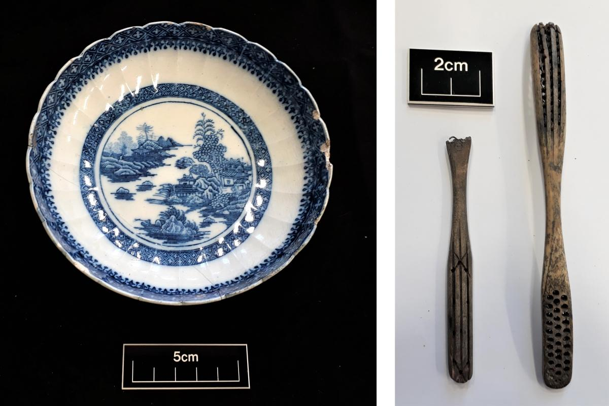 Nanking blue and white patterned bowl and Double-headed bone handled toothbrushes