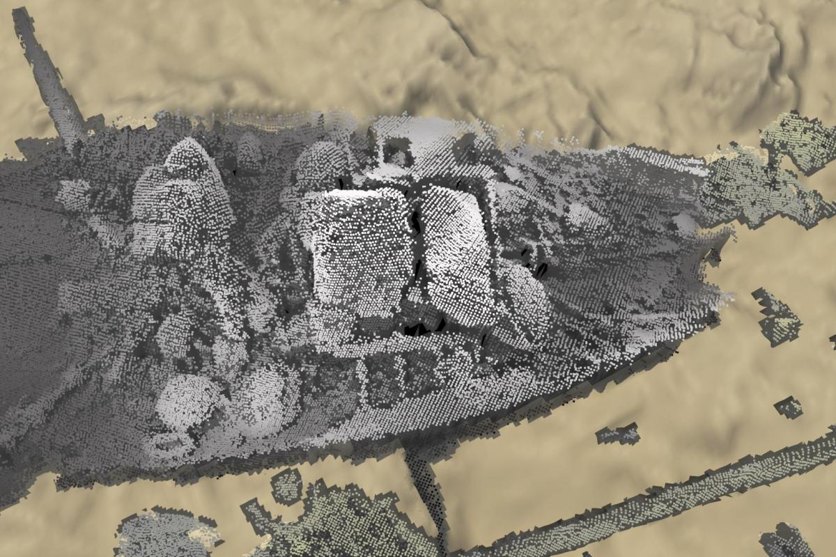 Marine Geophysics detail from point cloud data showing wreck site at Scapa Flow