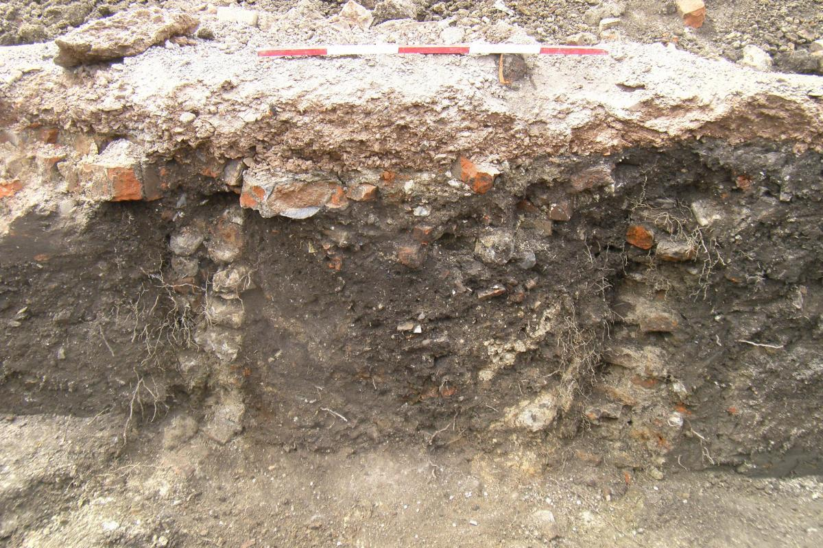 Section of a trench showing a structure