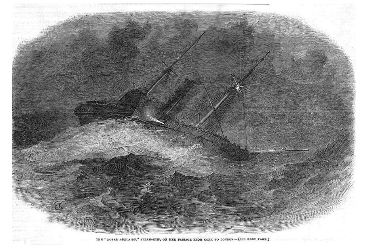 The sinking of RMS Royal Adelaide, as seen in the London Illustrated News, 1850