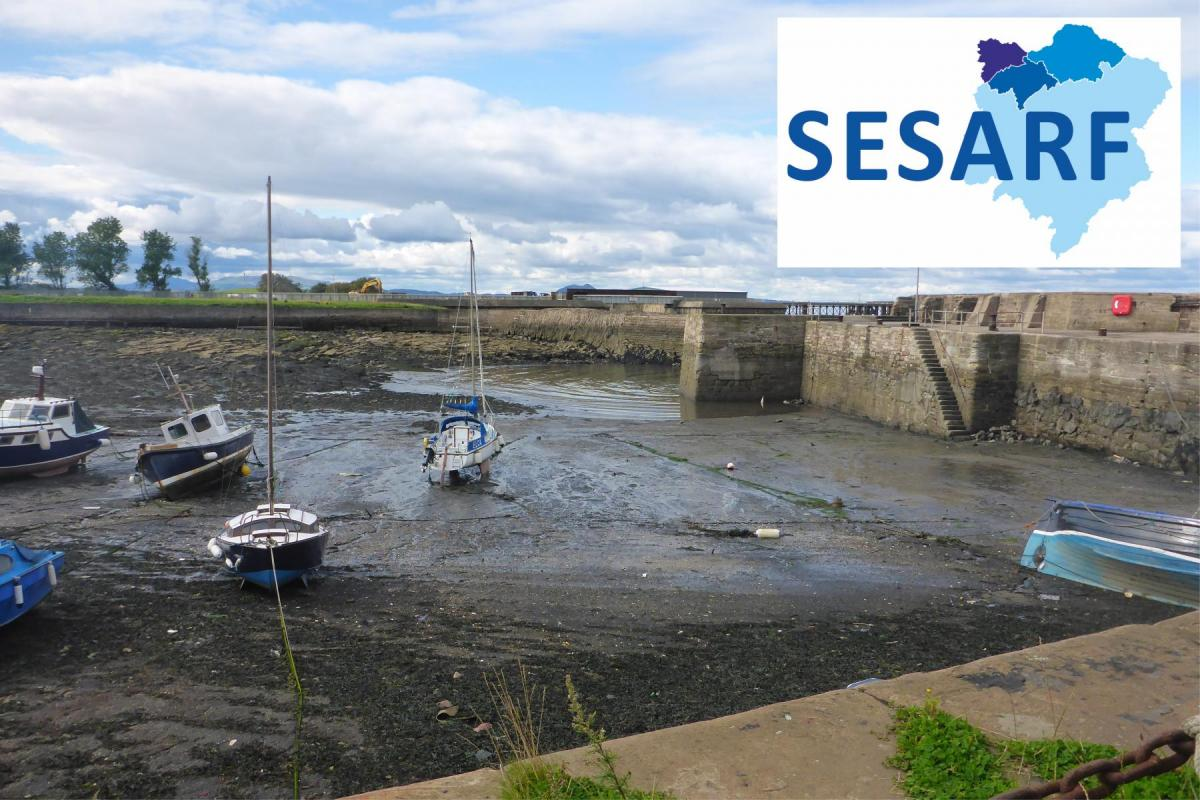 Harbour at low tide with SESARF logo