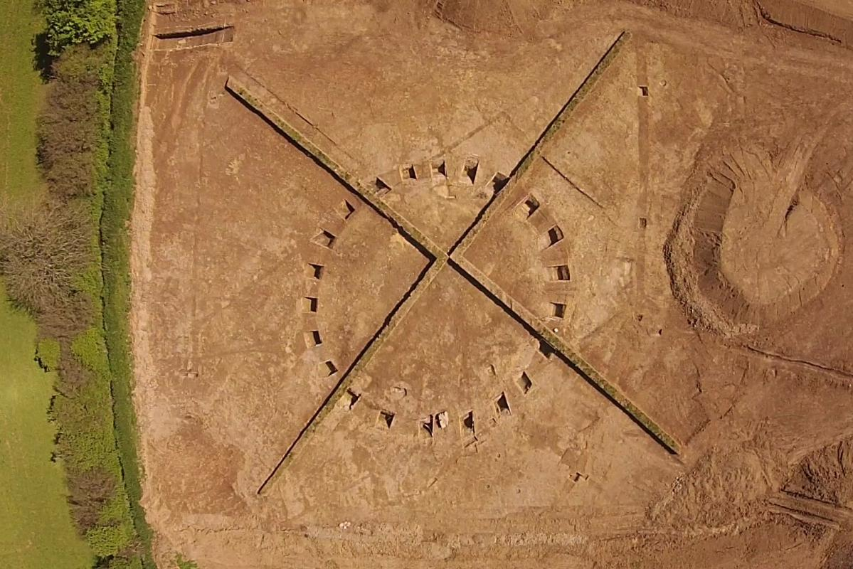 UAV image of a Bronze Age barrow during excavation at Sherford New Town