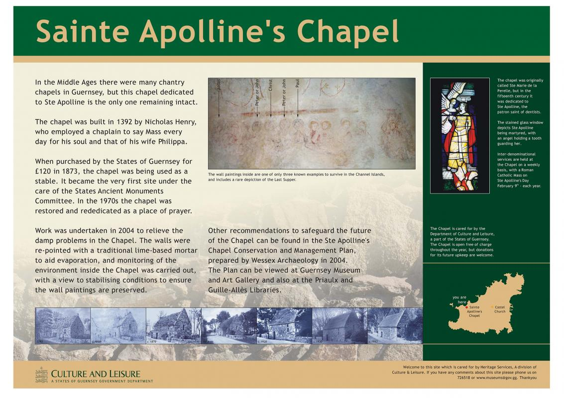 Ste Apolline's Chapel, Guernsey A1 information panel artwork