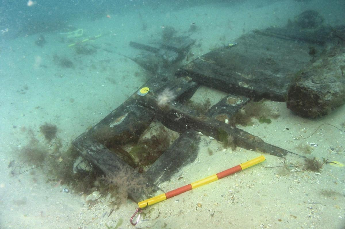 A section of the Swash Wreck's upper works showing the rails