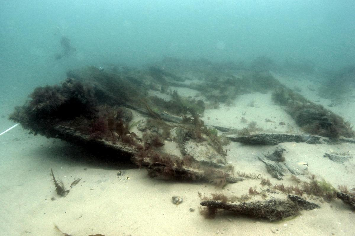 Section of the side of the Swash Channel Wreck