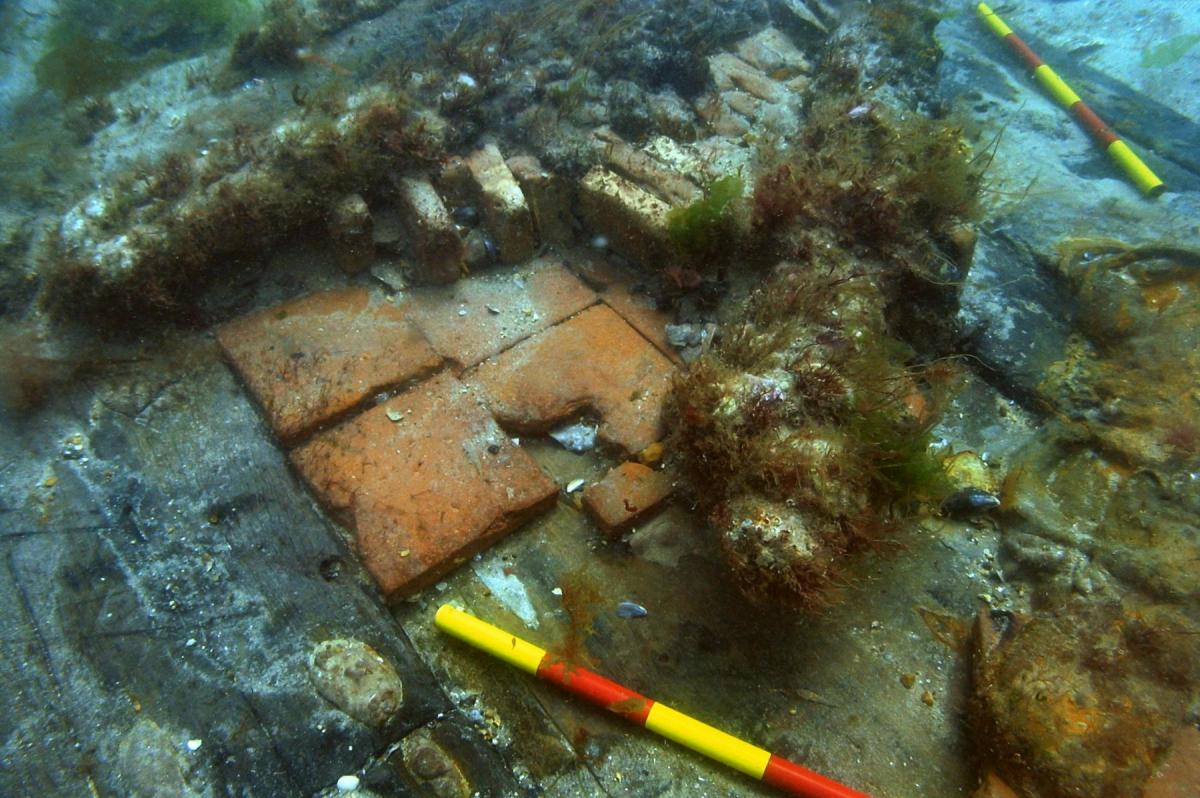 Possible hearth attached to the side of the swash wreck