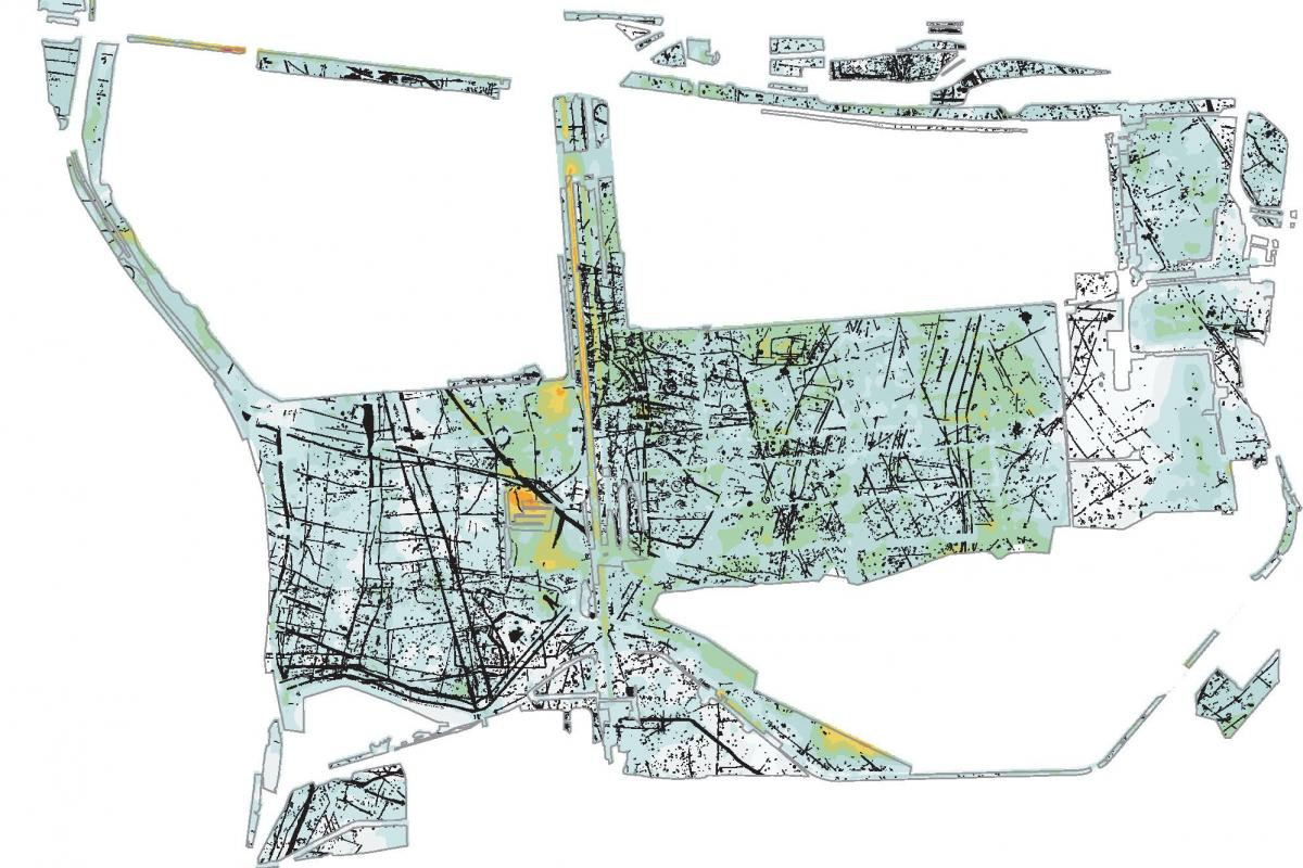 GIS plan of archaeological remains at Terminal 5 Heathrow Airport