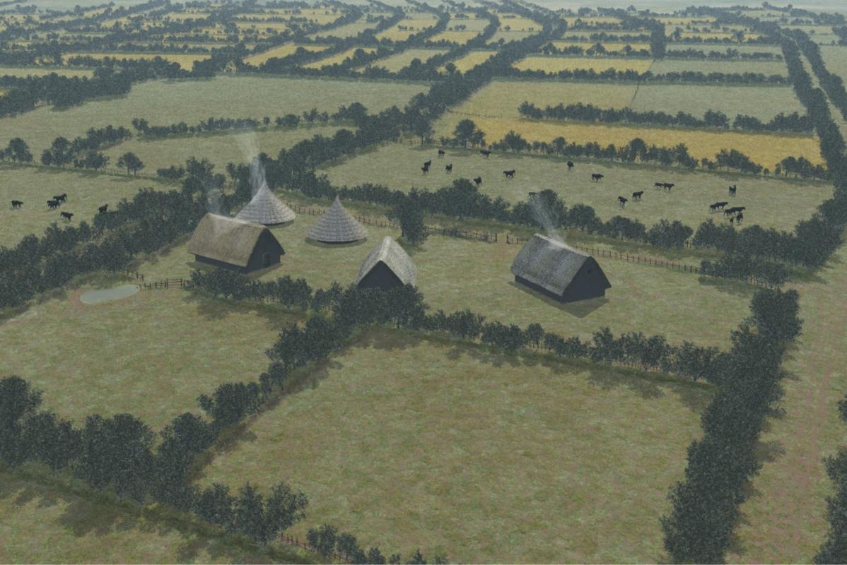 Reconstruction of Bronze Age farmstead at Terminal 5 Heathrow Airport