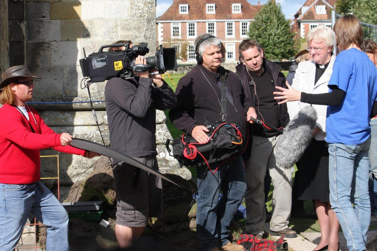 Behind the scenes Time Team recording at Salisbury Cathedral