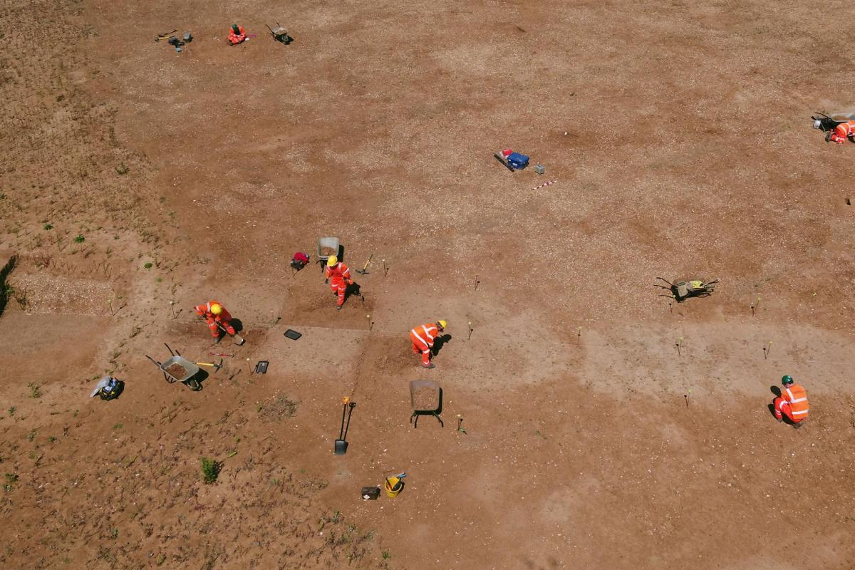 UAV image showing digging a causewayed enclosure at Datchet 2018