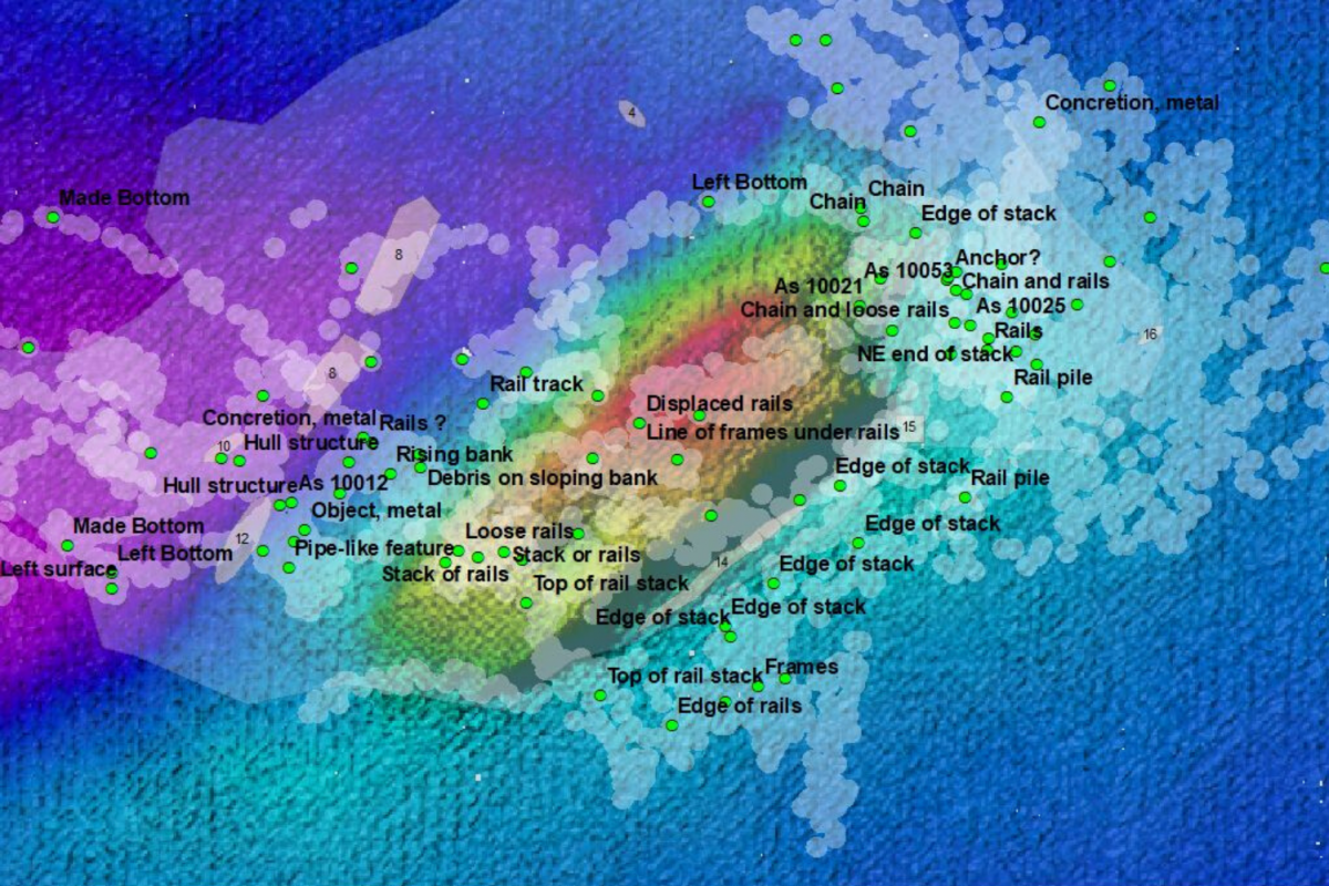Survey coverage of the South Australian wreck (Devon)