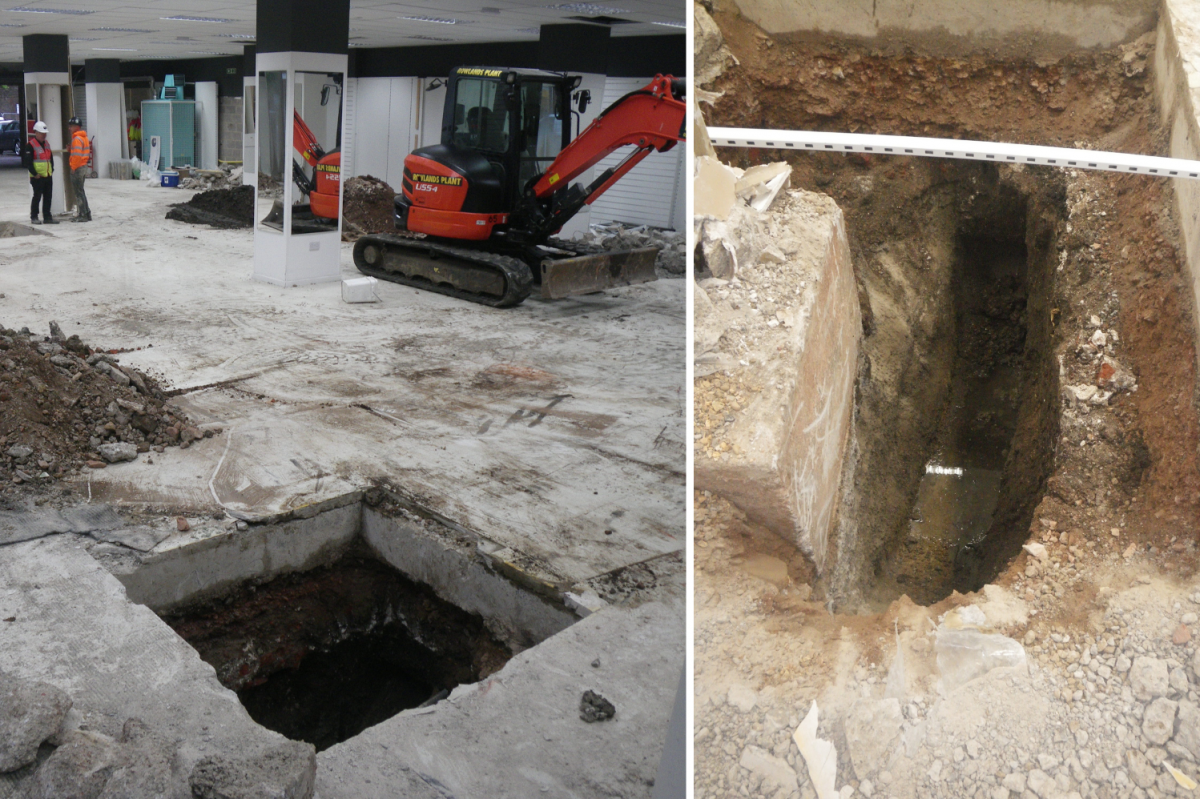 The site (left) and the extensive use of concrete in the building's foundations, discovered by excavation (right)