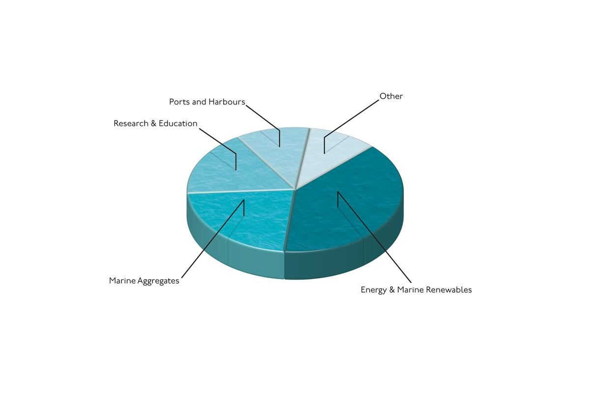 Pie chart showing the breakdown of project types carried out by the C&M department