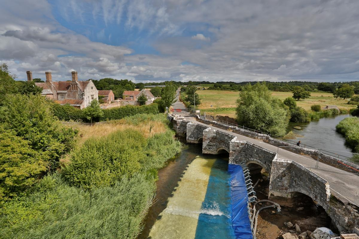 Wool Bridge, Dorset viewed from above