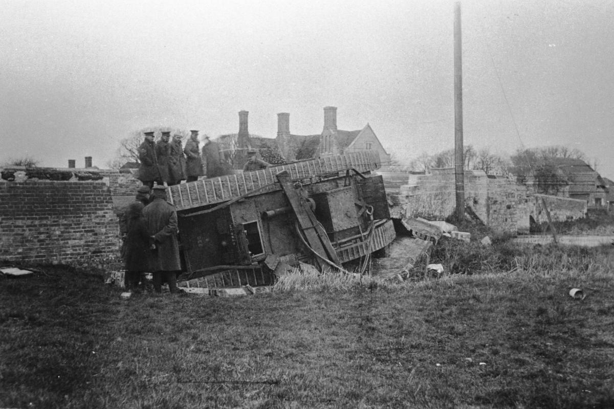 Wool Bridge, Dorset image from 1918 showing tank damage