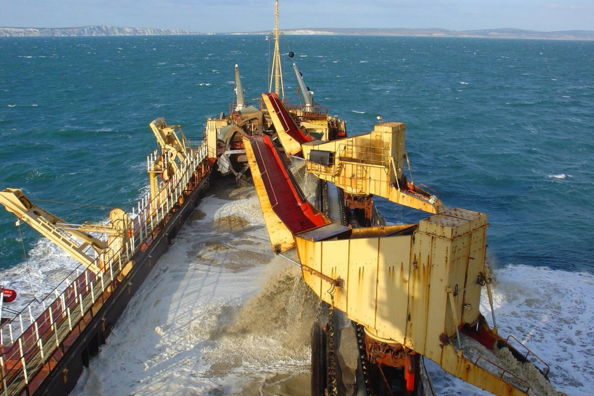 Marine aggregate dredger in action, image courtesy of