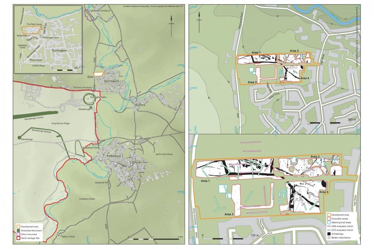maps showing location of Durrington site in relation to Stonehenge