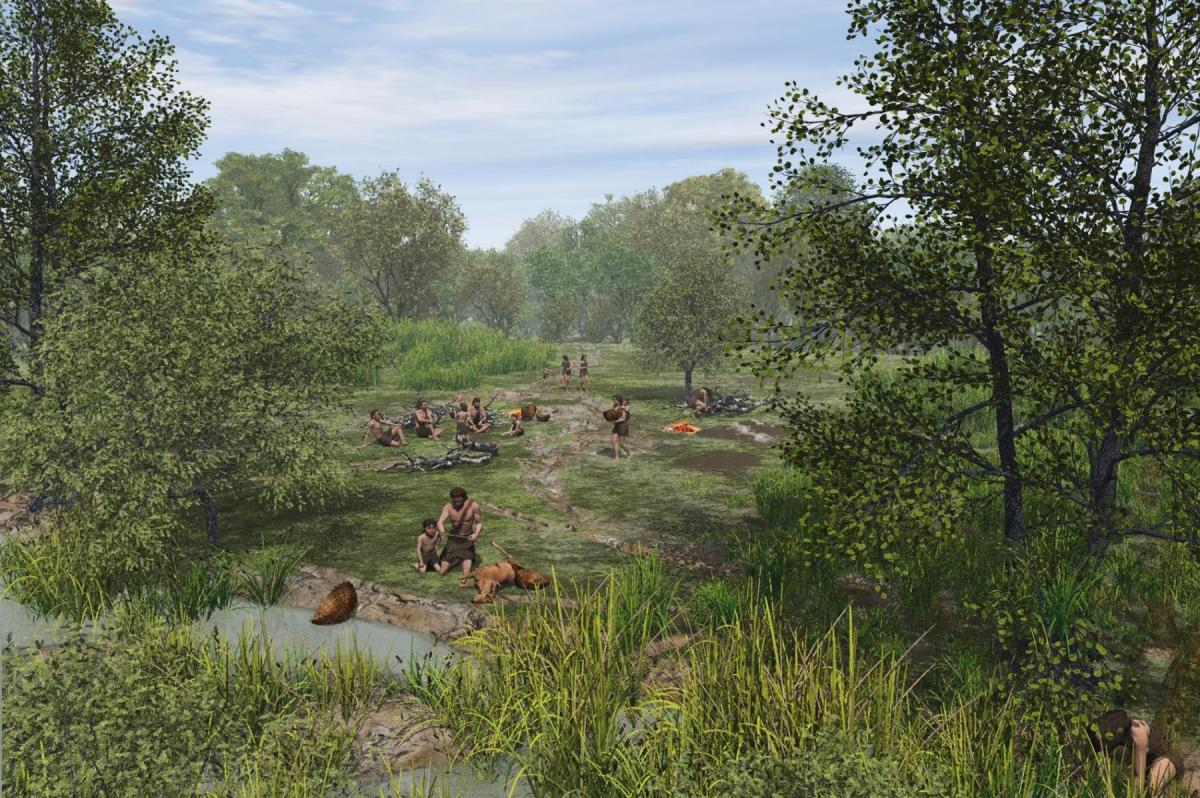 Reconstruction of a mesolithic camp site