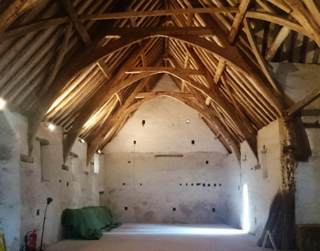 Inside o the Winterbourne Medieval Barn