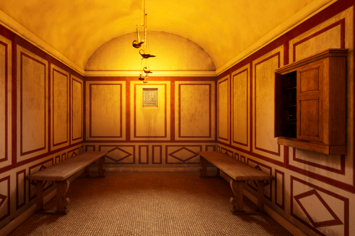 Heritage Interpretation Virtual Reality from Wessex Archaeology Roman Bathroom