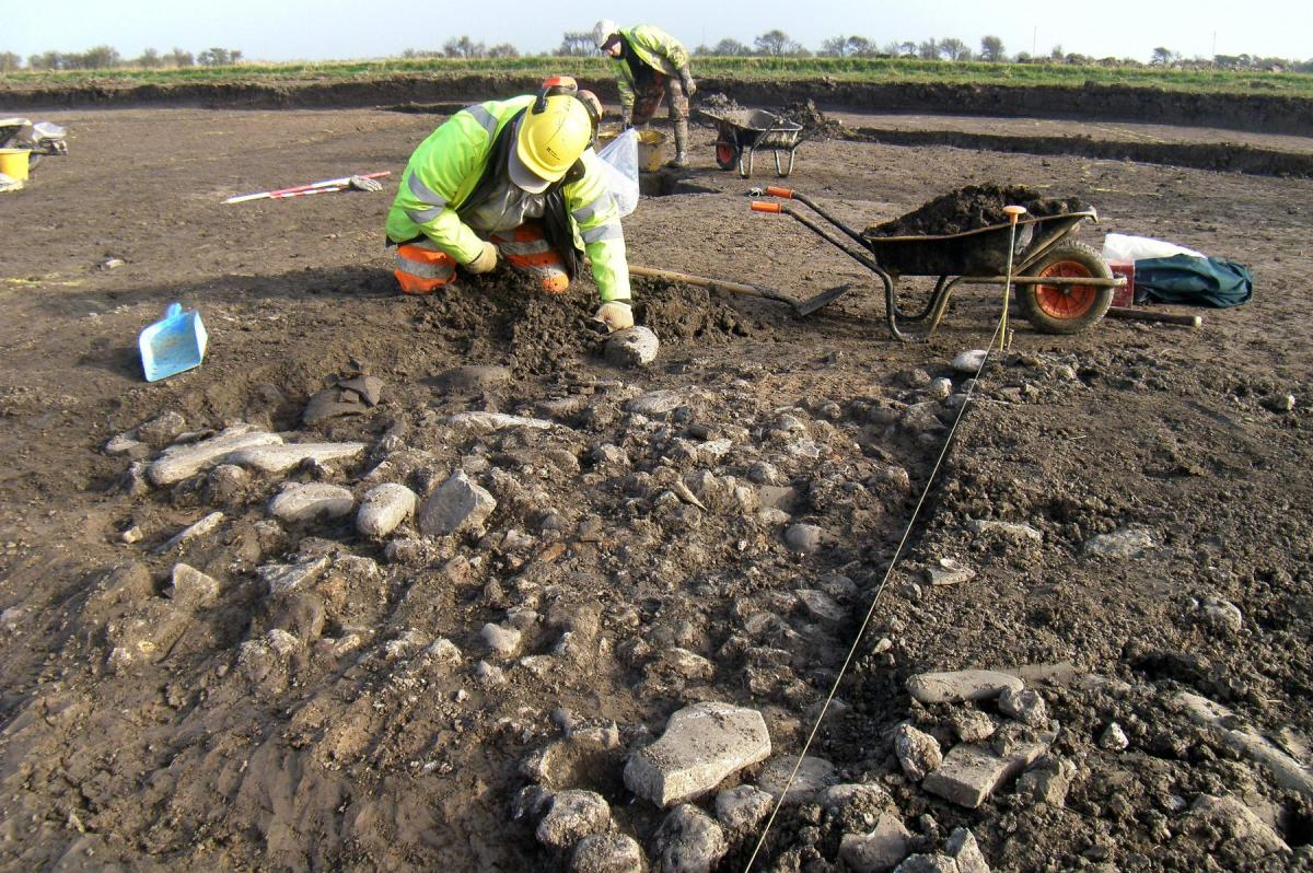 Excavation work at Steart Point, North Somerset