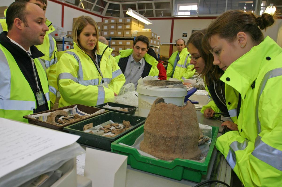 Visitors in the finds processing area of our Salisbury office