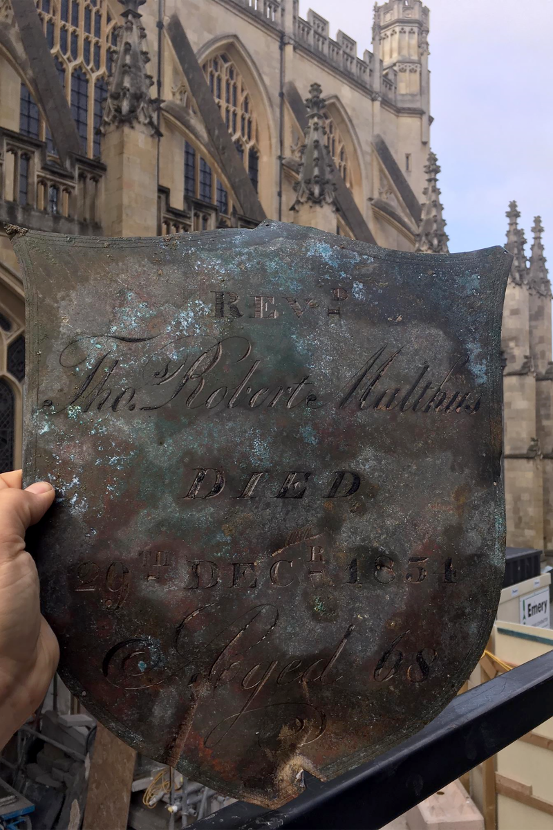Plaque from the last resting place of Reverend Malthus at Bath Abbey