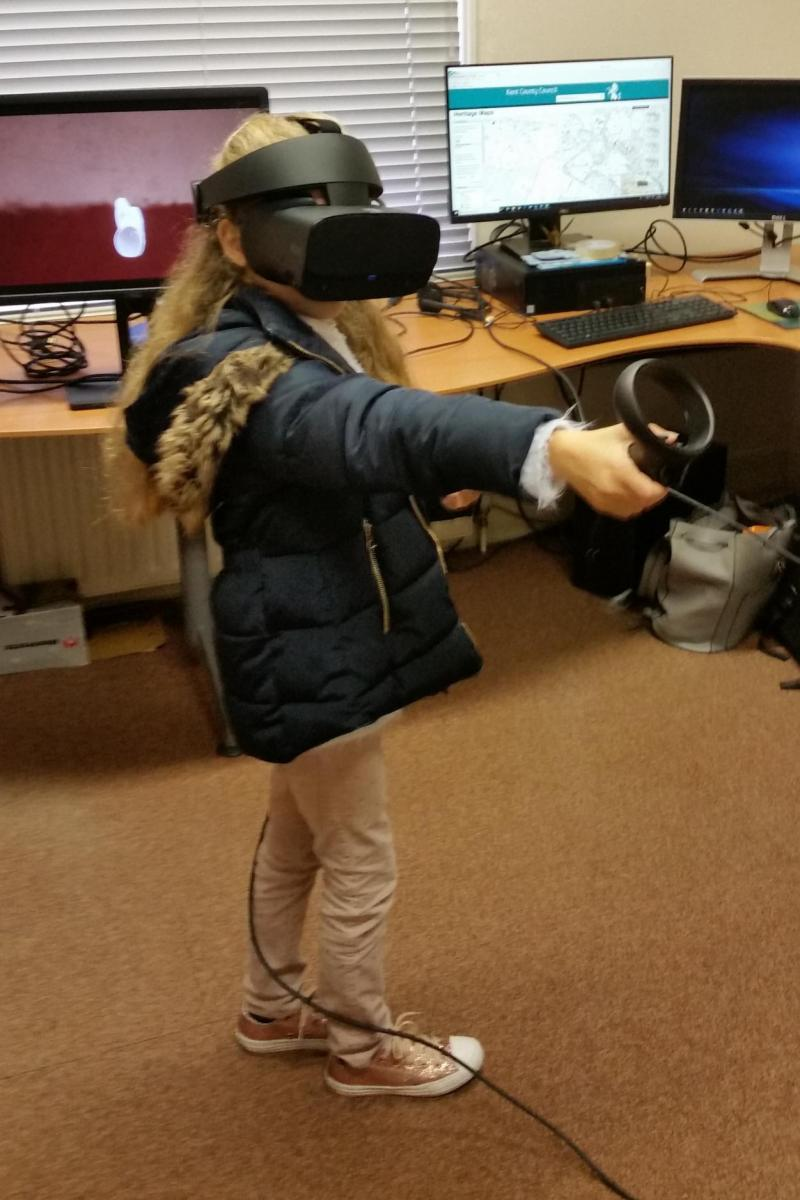 Eleanor has a go at using an Occulus Rift headset to experience a Roman villa in VR