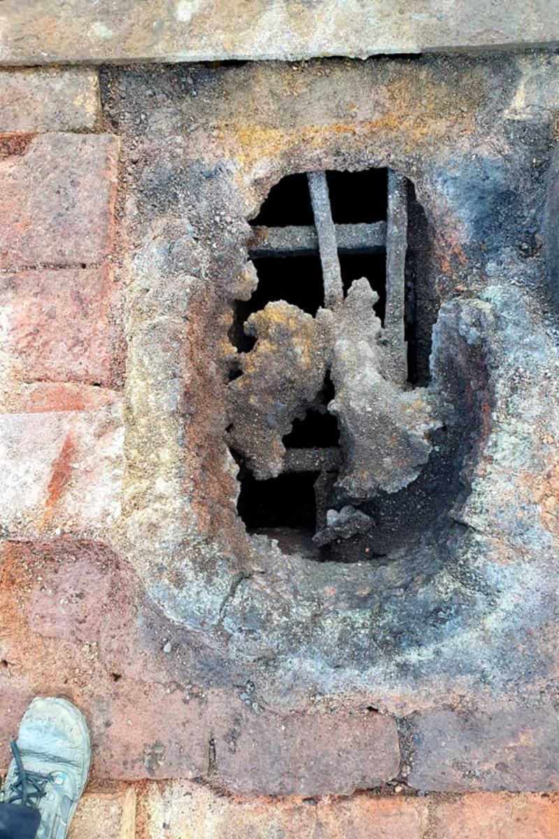 A crucible melting hole in the crucible furnace at the Bailey Lane site, Sheffield
