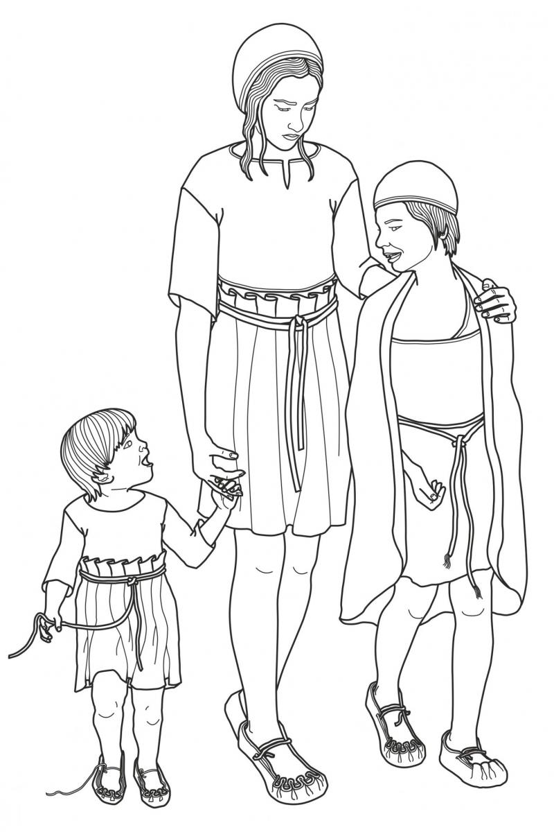 Illustration of three children from Larkhill used on window stickers of St Michael's Primary School