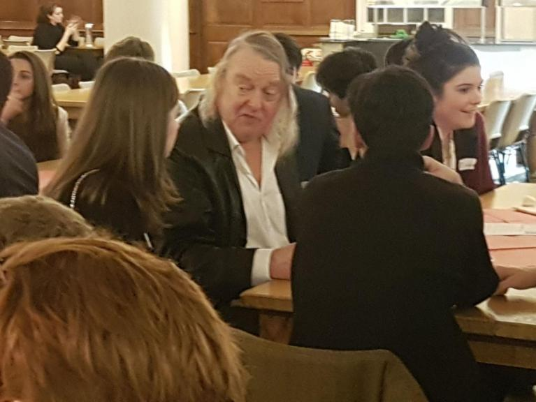 Phil Harding talking to students at Dauntsey School