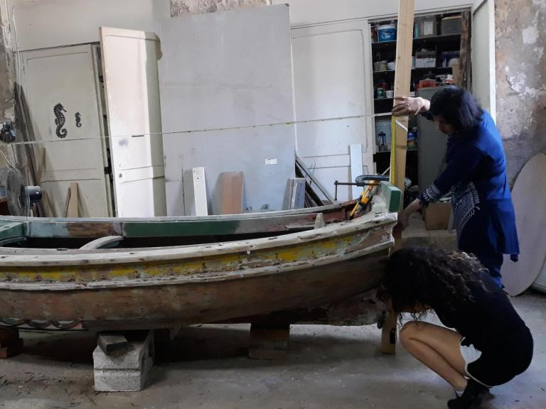 Working on a boat recording at the Malta Maritime Museum