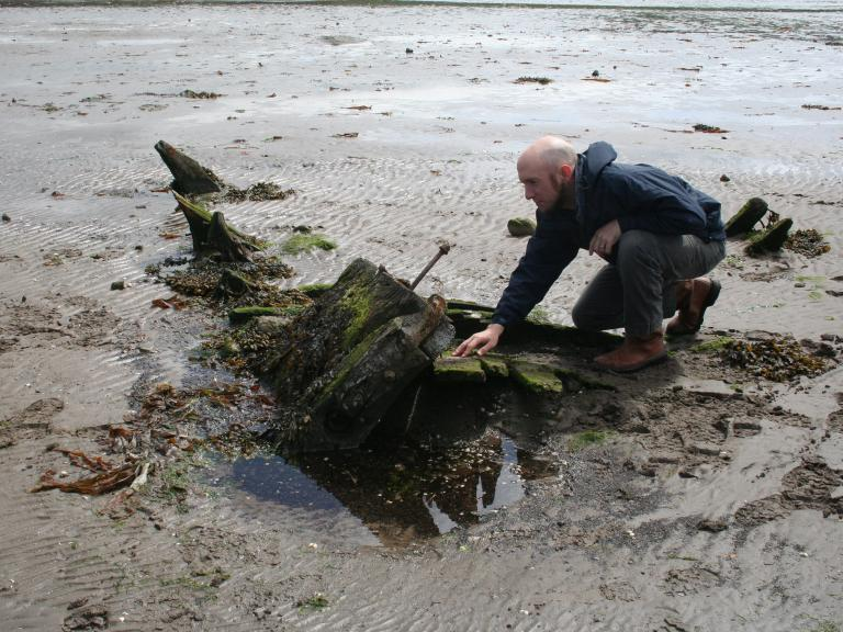 Intertidal wreck in Maidens, recorded during Project SAMPHIRE
