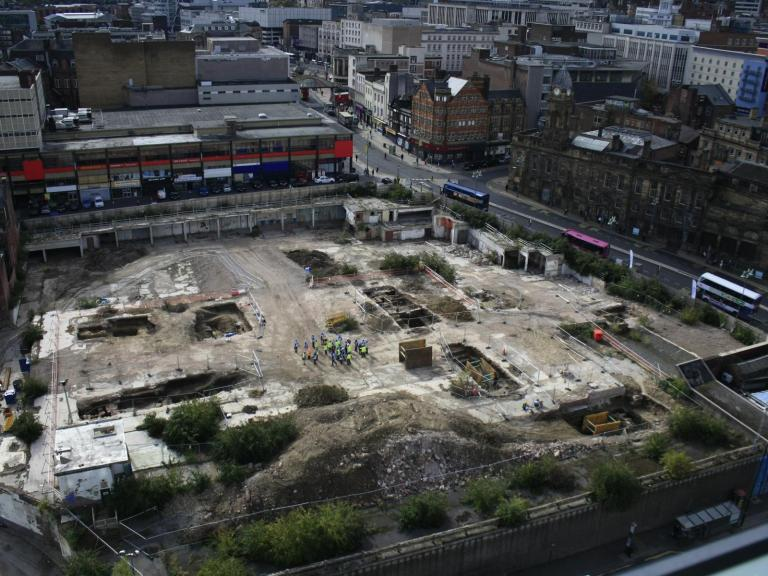 View of the Sheffield Castle excavations