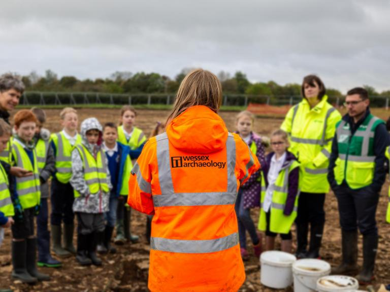 Future pupils of Somerton Primary School visit the site of their new school