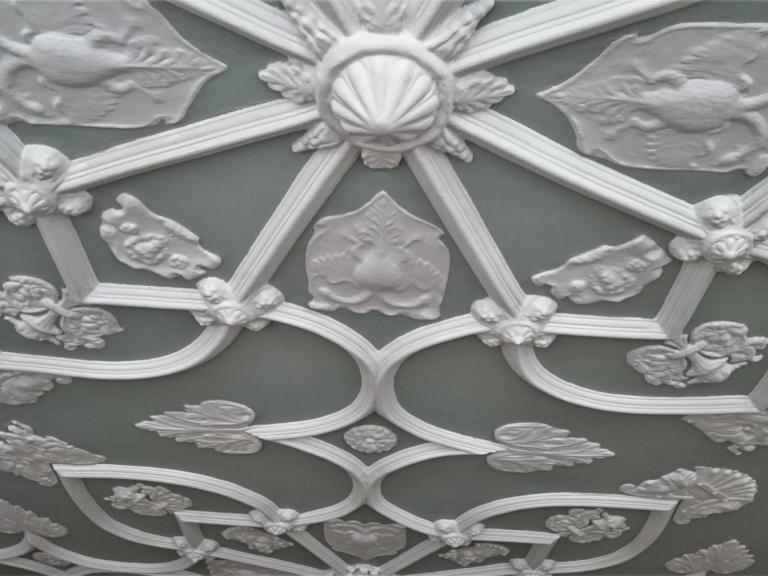 Jacobean plaster work at The Grapes on Westgate Street in Bath, a close match to fragments of Bath Abbey's ceiling