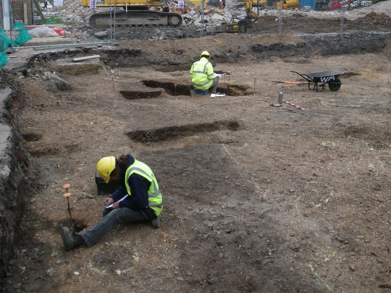 Archaeological excavations of a trackway at Holland Park School, Campden Hill