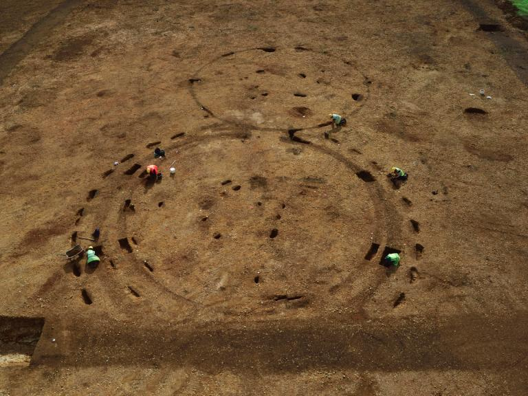 Roundhouses under excavation at Exeter Down Stamford